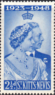 Stamps 1948 St Kitts Nevis King George VI  Silver Wedding SG 80 Fine Mint Scott 93