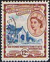 1954 St Christopher Nevis Anguilla SG 113 Warners Tomb Fine Used