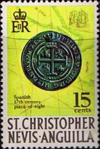 Stamp Stamps 1970 St Christopher Nevis Anguilla SG 214 Piece-of-eight Fine Mint  Scott