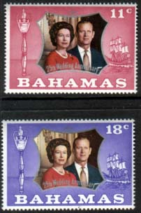 Postage Stamps 1972 Bahamas Royal Silver Wedding Set Fine Mint