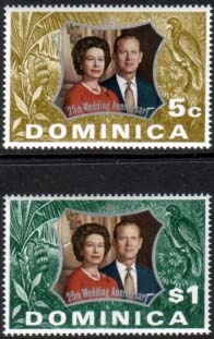 1972 Dominica Royal Silver Wedding Stamps