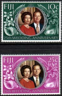 1972 Fiji Royal Silver Wedding Stamps