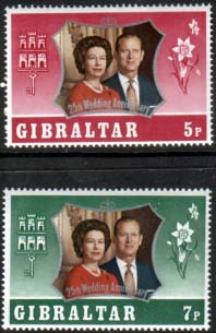 1972 Gibraltar Royal Silver Wedding Stamps