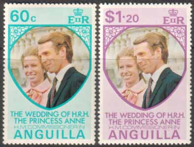 1973 Anguilla Princess Anne Royal Wedding Stamps