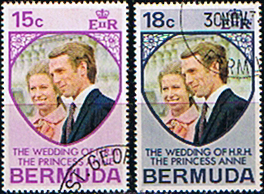 1973 Bermuda Princess Anne Royal Wedding Stamps