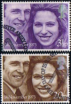 1973 Great Britain Princess Anne Royal Wedding Set Fine Used
