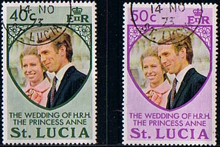1973 St Lucia Princess Anne Royal Wedding Set Fine Used