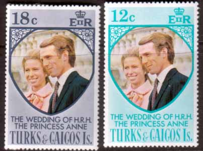 Stamps 1973 Turks and Caicos Princess Anne Royal Wedding