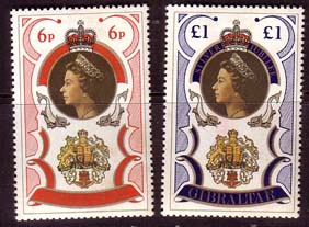 Stamp Stamps 1977 Gibraltar Royal Silver Jubilee Set Fine Mint