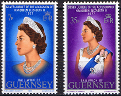 Stamps  1977 Guernsey Royal Silver Jubilee Set Fine Mint SG 149 50 Scott 160