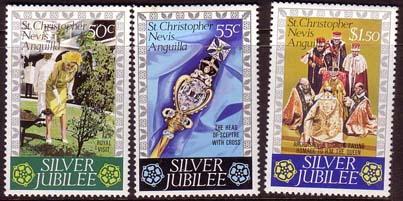 Stamps 1977 St Christopher Nevis Anguilla Royal Silver Jubilee Set