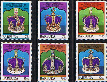 Stamps Crowns 1978 Barbuda Coronation 25th Anniversary Crown Set Fine Mint