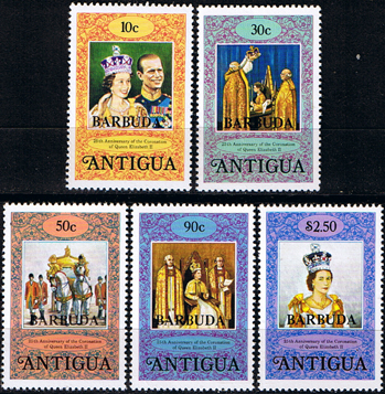 Stamps Perf 12 1978 Barbuda Coronation 25th Anniversary Set Fine Mint