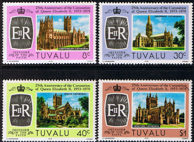 Postage Stamps 1978 Tuvalu Coronation 25th Anniversary Set Fine Mint