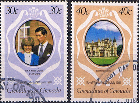 1981 Grenadines of Grenada Charles and Diana Royal Wedding 30/40c Addition Fine Used