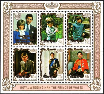 Stamps 1981 Penrhyn Island Charles and Diana Royal Wedding Miniature Sheet Fine Mint MS 228 Scott 180a