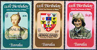 Stamps 1982 Tavalu Diana 21st Birthday ROYAL BABY Overprint Set