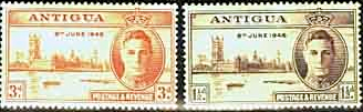 Antigua Stamps 1946 King George VI Victory