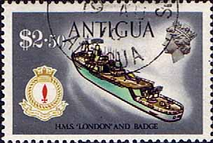 Antigua 1970 Ships and Captains SG 284 H.M.S. London Destroyer Fine Used