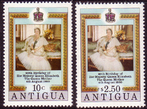 Postage Stamps of Antigua 1980 Queen Mothers 80th Birthday Set Fine Mint