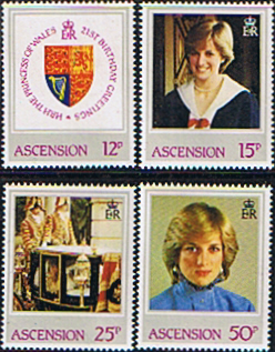 Ascension Islands 1982 Diana 21st Birthday Set Fine Mint