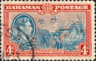 Stamps Bahamas 1938 George VI Sea Garden SG 158 Fine Used Scott 106