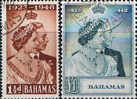 Stamps Bahamas King George VI Royal Silver Wedding Set Fine Used