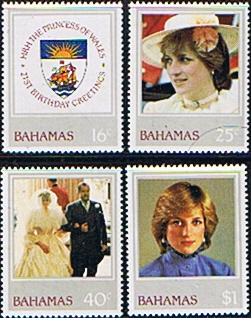 Royalty Stamps 1982 Bahamas Diana 21st Birthday Set Fine Mint