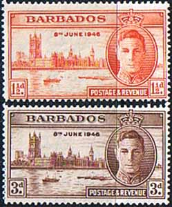 Barbados Stamps 1946 King George VI Victory