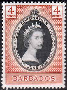Barbados Queen Elizabeth II 1953 Coronation Stamps