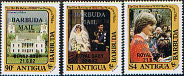 Stamp Stamps 1982 Barbuda Royal Baby Prince William Fine Mint 2nd, issue