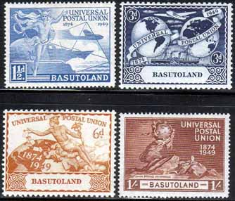 Basutoland Stamps 1949 Universal Postal Union Set Fine Mint SG 38-41 Scott 41 - 44