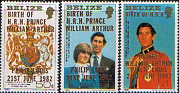 Stamps 1982 Belize Royal Baby Prince William Large Set 2nd issue Fine Mint