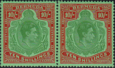 Bermuda 1938 King George VI SG 119f Horizontal Pair Fine Mint