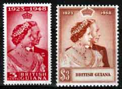 British Guiana Stamps King George VI Royal Silver Wedding
