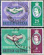Postage Stamps of British Guiana 1965 International Co-operation Year Set Fine Mint