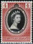 British Guiana Queen Elizabeth II 1953 Coronation Stamps