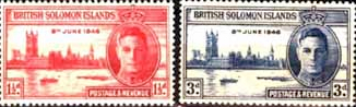 British Solomon Islands Stamps 1946 King George VI Victory Peace