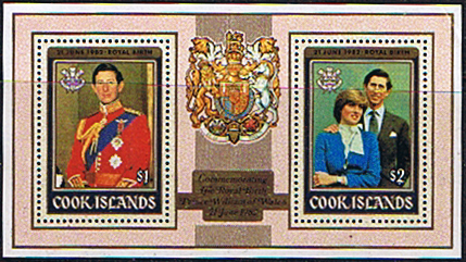 Stamps 1982 Cook Islands Royal Baby Prince William Miniature Sheet Fine Mint