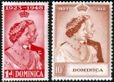 Dominica Stamps 1948 King George VI Royal Silver Wedding