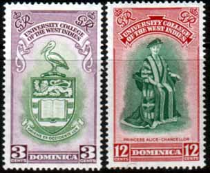 Stamps of Domanica 1951 British West Indies University College Set Fine Mint