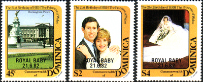 Stamps 1982 Dominica Royal Baby Prince William Set Fine Mint
