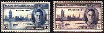 Falkland Islands Dependencies Stamps 1946 King George VI Victory Set Fine Mint