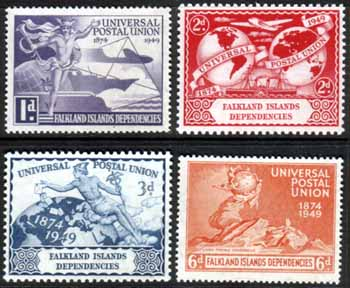 Stamp stamps Falkland Islands Dependencies Stamps 1949 Universal Postal Union Set Fine Mint