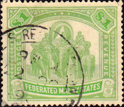 Federated Malay States 1922 SG 76 Elephants Fine Used