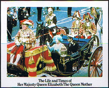 Stamps Fiji 1985 Queen Mother Life and Times Miniature Sheet Fine Mint