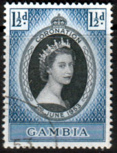 Stamps Stamp Gambia Queen Elizabeth II 1953 Coronation Fine Used