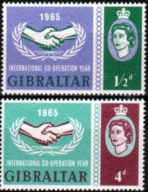 Commonwealth Stamps Gibraltar 1965 International Co-operation Year Set Fine Mint