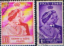 Stamps Stamp Gilbert and Ellice Islands King George VI Royal Silver Wedding Set Fine Used