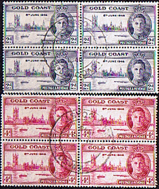 Gold Coast Stamps 1946 King George VI Victory Set in Blocks of 4